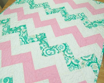 Chevron Baby Girl Quilt Crib Bedding Nursery Bedding  Pink and Green