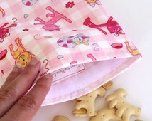 Reusable Sandwich Bag,  Snack Bag with Pink Cats, Girl's Lunch Bag, Kitty Lunch Bag