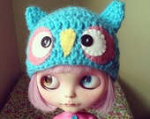 hootie cutie Turquoise owl hat for blythe