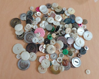 treasure of the sea vintage mother of pearl buttons dyed, carved