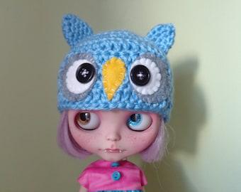 hootie cutie LIGHT BLUE owl hat for blythe