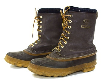 80s LaCrosse Waterproof Duck Boots / Vintage 1980s Leather & Rubber Lace Up Gardening Rain Booties / Insulated Lined Steel Shank / Men's 11