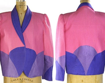 80s Quilted Silk Jacket / Vintage 1980s Hand Woven Thai Silk Quilted Blazer in Pink & Purple / Abstract Avant Garde Art to Wear