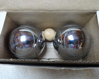 Petanque Shiny Metal Competition Bouls Out Door Lawn Games Bocce Balls Set of 2 Balls.