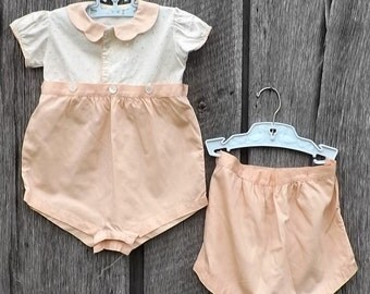 Vintage Baby Girl Bloomer Set, 3 Pc Set Peach & White Handmade Outfit