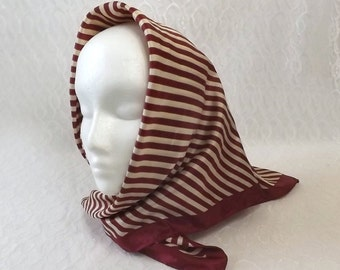 Vintage Glentex Large Scarf Maroon and Beige Stripes, Ladies Fashion Head Wear