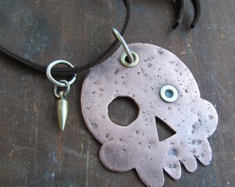 Funky SKULL Necklace Copper and Silver Riveted Unisex Pendant Long Leather Halloween Necklace Bullet Charm