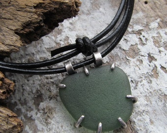 Unisex Silver Beach Sea Glass Necklace Green Rough Mens Womens Pendant Adjustable necklace