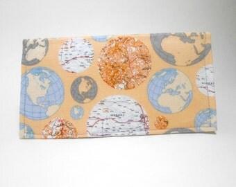 Duplicate Checkbook Cover, Globe Check Book Cover, Tan Checkbook Cover