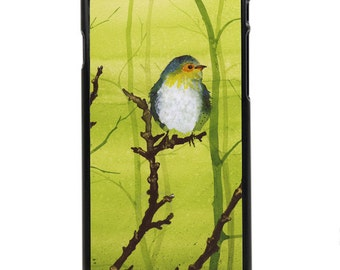 """Phone Case """"Misty"""" - Watercolor Art Giclee Print Cute Little Robin Sparrow Painting Green Foggy Day By Olga Cuttell"""