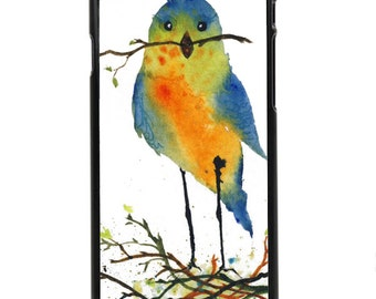 """Phone Case """"Nesting"""" - Fine Art Giclee Print Cute Blue Bird Red Breasted Robin Watercolor Painting By Olga Cuttell"""
