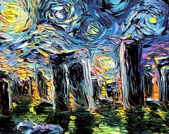 van Gogh Never Saw Stonehenge - Art Giclee print reproduction by Aja 8x8, 10x10, 12x12, 20x20, and 24x24 inches choose your size