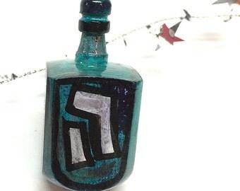 Hanukkah Dreidel - Gift for Hanukkah for Her or Him - Hanukkah Party Favor - Hand Painted Wood Draydel by Claudine Intner