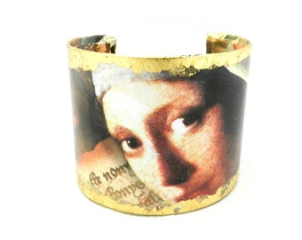 Cuff Bracelet, Bracelet Cuff, Art Cuff, Decoupage Bracelet Cuff, Girl With Pearl Earring, Fine Art Jewelry, Artisan Made by Durango Rose