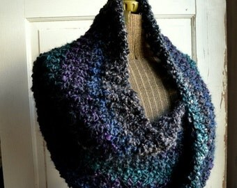 Twisted Mobius Wrap Crochet Capelet Dark Midnight Blue Gray Purple
