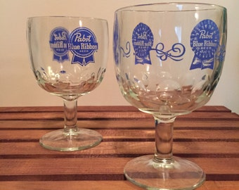 Vintage Pabst Blue Ribbon Goblet Glasses