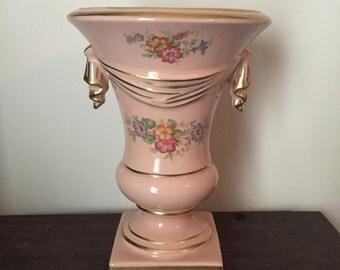 Vintage pink and gold flowered vase