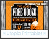 Free Booze Halloween Party Invitation Costumes and Cocktails Funny Beer Adult Pumpkin Jackolantern Black Orange Printable Digital Custom DIY