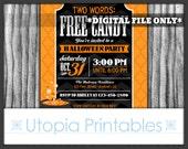 Free Candy Halloween Party Invitation Candy Corn Cute Funny Cauldron Black Orange Kids Halloween Printable Digital Custom 5x7 DIY