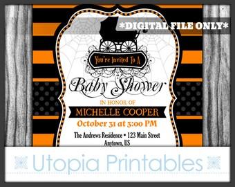 Halloween Baby Shower Invitation Fancy Elegant Gothic Theme Baby Carriage Spider Webs Spiderweb Stripes Striped White Digital Printable DIY