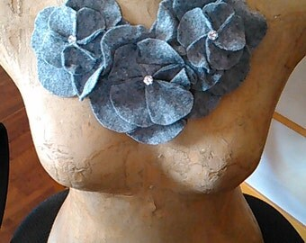 Grey Felt Rosette Neckpiece Necklace