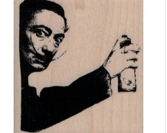 Banksy Salvador Dali Street Artist  rubber stamp face portrait  crafting scrapbooking supplies 19941 holzstempel