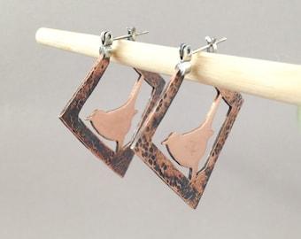 Copper Earrings Artisan Made Art Jewelry Hoop Earrings, Bird Earrings with Sterling Silver Wire, Bird Lover Gift, Mixed Metal Earrings