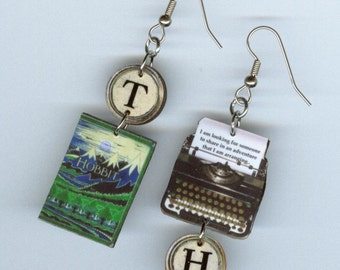 Book Cover Earrings - The Hobbit Tolkien Quote - typewriter jewelry - literary readers student librarian gift - mismatched earring design
