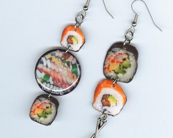Sushi earrings - Japanese food sashimi fish jewelry - mismatched earring designs by Annette - waitress sushi bar chef cooks gift