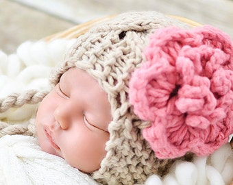 Newborn Crochet Hat, Baby Girl, Newborn Hat, Baby Girl Hat, Crochet Baby Hat, Ear Flap Hat, Newborn Prop, Beige Pink, Baby Newborn Hat