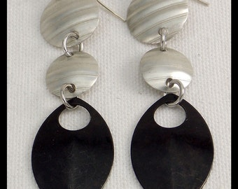 MARGO - Handforged Corrugated Pewter and Blackened Stainless Steel Long Statement Earrings