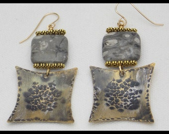 FELICIA - Grey Feldspar - Handforged Hammered Antiqued and Gilded Bronze Statement Earrings