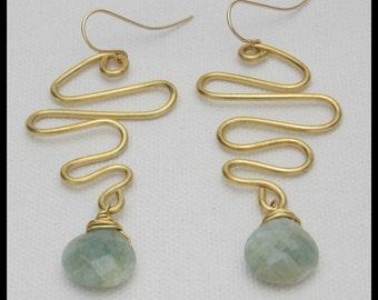 AQUAMARINE - Faceted Aquamarine Brios - Handforged Long Squiggly Bronze Earrings