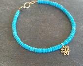 Sleeping Beauty Turquoise and Lotus Flower Symbolic Charm Bracelet. Gemstone Bracelet. Inspirational bracelet.