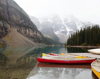 Landscape Photography, Canoe Art, Rustic Decor, Moraine Lake, Alberta Canada, Mountains, Banff Canadian Rockies - Off the Grid