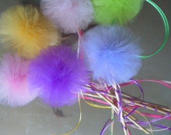 DIY Fairy wands birthday party favors, tulle pompoms, princess wands, party centerpiece, tutu party favor, KIT for fairy wand party favors
