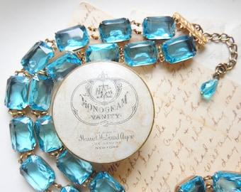 "Anna Wintour necklace, collet, aquamarine statement necklace, aqua statement necklaces, aqua rhinestone choker, Georgian. ""Resplendent"""