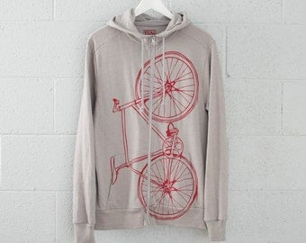 Fixie BICYCLE HOODIE LARGE - red bike on gray - zip high neck hooded unisex sweatshirt