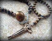 The Cave Dweller Brass and Turquoise Long Layering Necklace