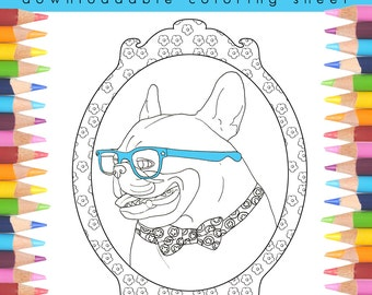 French Bulldog Adult Coloring Book Page, Stress Relief, Downloadable Coloring Book Page, Self Care, Instant Download Coloring Book Page