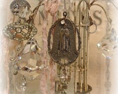 our lady of the highway chandie ornament one of a kind vintage assemblage chandelier crystal vintage holy medal pearls rhinestones