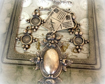 assorted antique silver reproduction findings connectors rose plaque tiny postcards cab settings