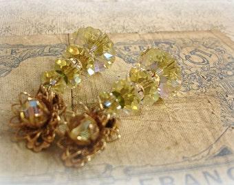 vintage rhinestone and crystal earrings . mid century hot yellow swarovski with rhinestone rondelles clip ons