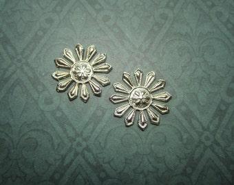 Art Deco Medallion 12 Petal Design SMALL Silver Tone Stamping x 2