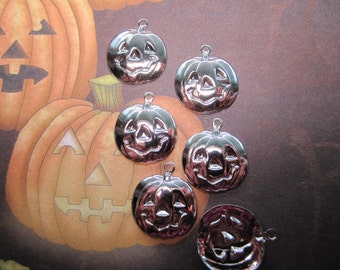 LARGE Pumpkin Carved Face Silver Tone Halloween Charms on Etsy x 6