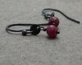 Ruby Earrings Disc Earrings Petite Earrings Red Earrings Oxidized Sterling Silver Earrings Gift for Girlfriend Minimalist Earrings