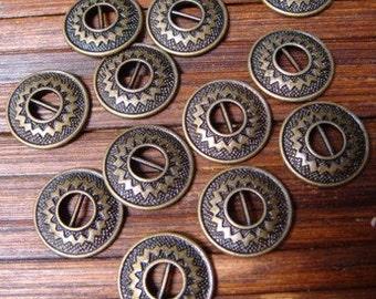 9pcs Brass Decorative Button 14mm Southwest motif