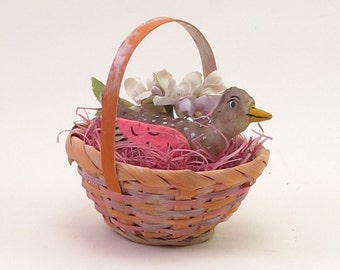 Vintage Inspired Spun Cotton Pink Thrush Bird Basket Figure OOAK