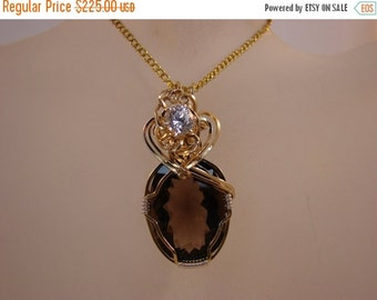 SRAJD End of Summer Sale Argentium Sterling Silver and 14k Rolled Gold Smokey Quartz Pendant with White Cubic Zirconia