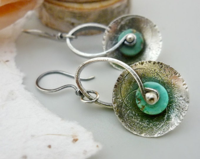 Oxidized Sterling Silver and Turquoise Disc Dangles
